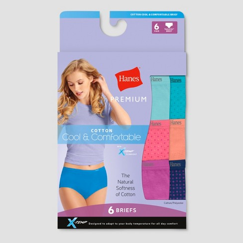 Hanes Premium Women's Cool & Comfortable Cotton Brief Panties With X-Temp 6pk - image 1 of 1