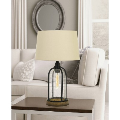 100W Ciney Glass/Metal/Pine Wood Table Lamp With 25W Night Light Black  (Includes Light Bulb)   Cal Lighting : Target