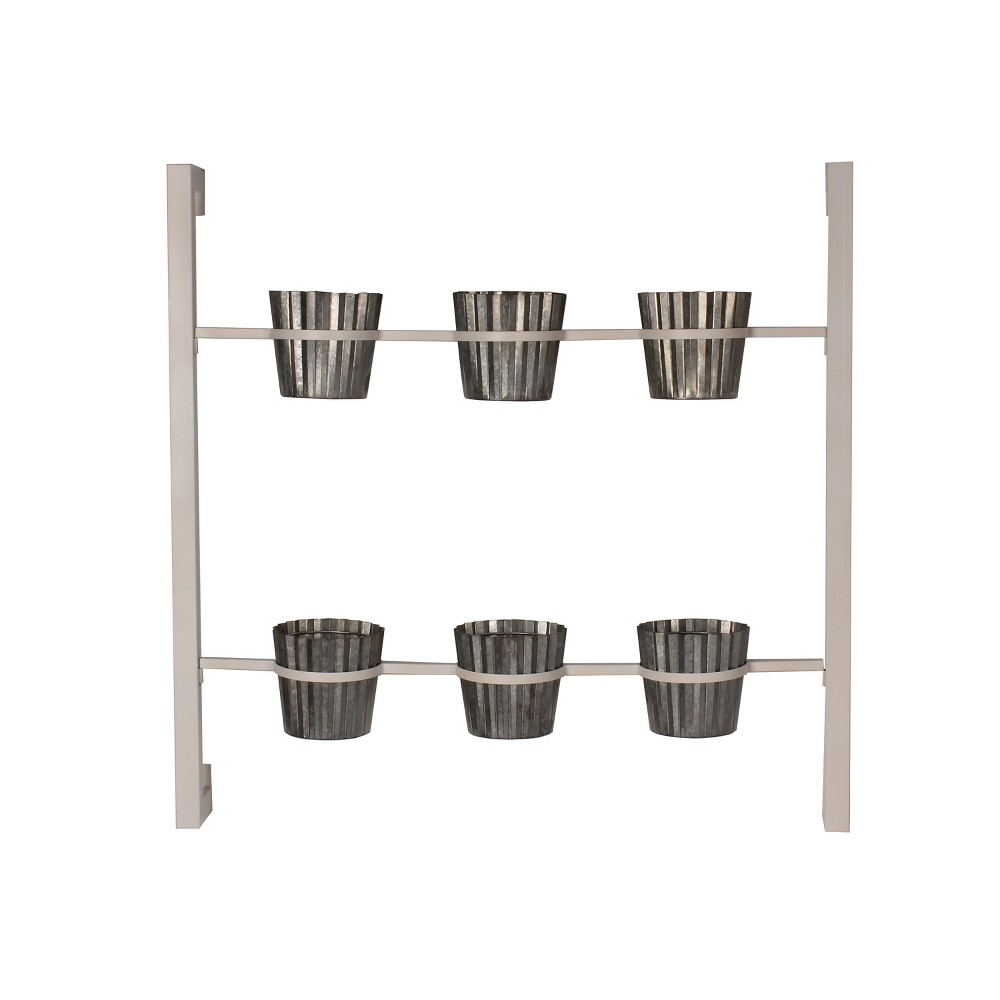 Image of Wall Shelf with Planters - White