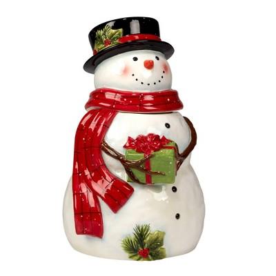 76oz Earthenware Snowman's Farmhouse Santa 3-D Cookie Jar - Certified International
