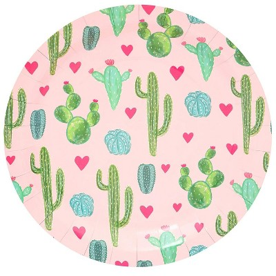 """Sparkle and Bash 80Pcs Cactus Theme Disposable Paper Plates 9"""" for Birthday Cinco De Mayo Party"""