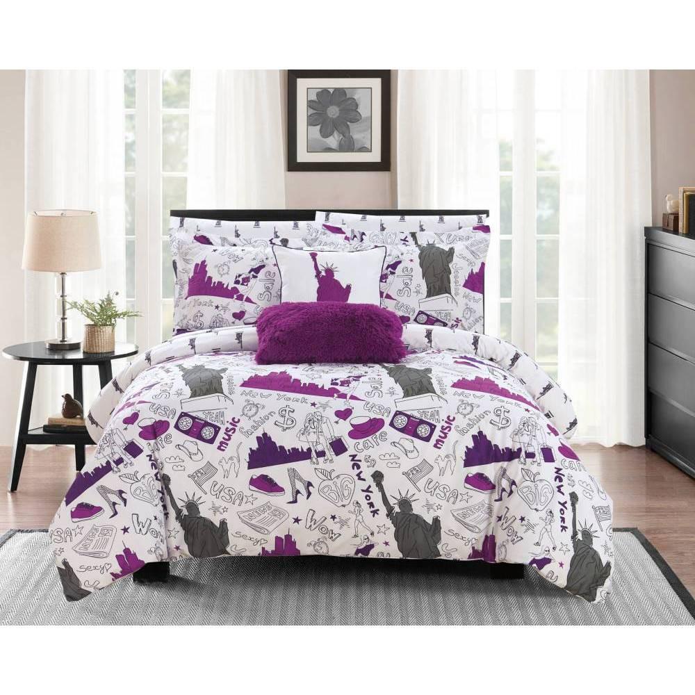 Chic Home Design Queen 9pc Ellis Bed In A Bag Comforter Set Purple