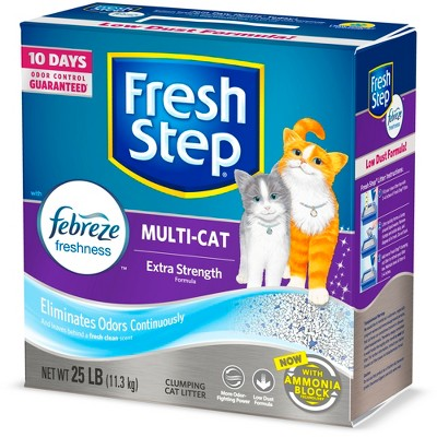 Fresh Step Multi-Cat Scented Litter with the Power of Febreze Clumping Cat Litter- 25lbs