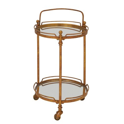 Traditional Iron and Mirrored Bar Cart Brass - Olivia & May