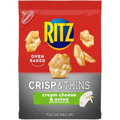 Ritz Crisp & Thins Cream Cheese & Onion Potato And Wheat Chips - 7.1oz