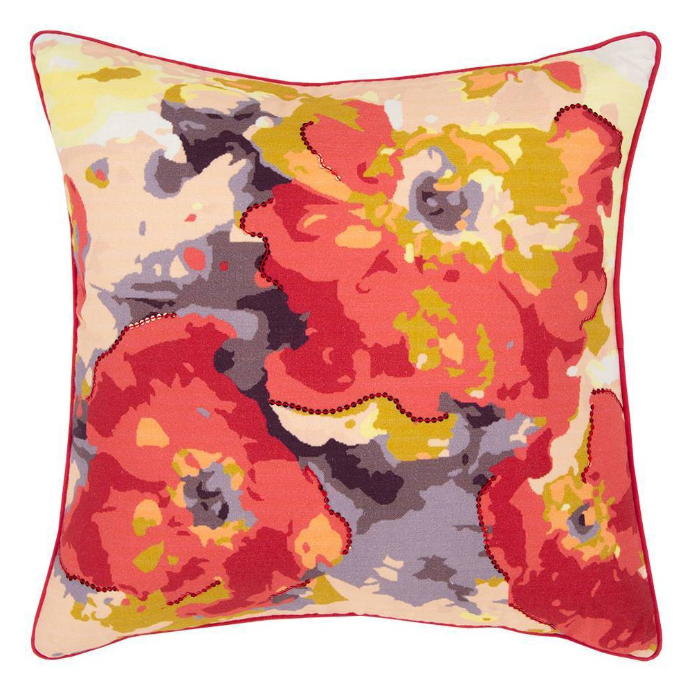Image of Connie Post Solid Poly Filled Square Pillow Red - Rizzy Home