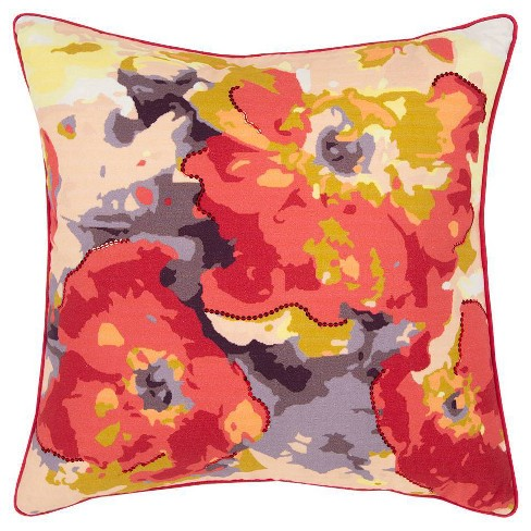 Connie Post Solid Poly Filled Square Pillow Red - Rizzy Home - image 1 of 4