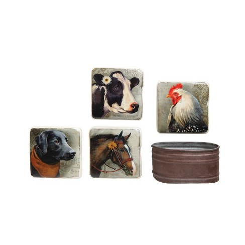 Square Coasters In Metal Container - Set of 5 - 3R Studios - image 1 of 2