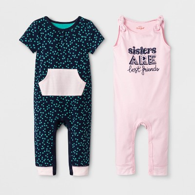 Baby Girls' 2pk Sleeveless Romper Set - Cat & Jack™ Woodrose/Navy 0-3M