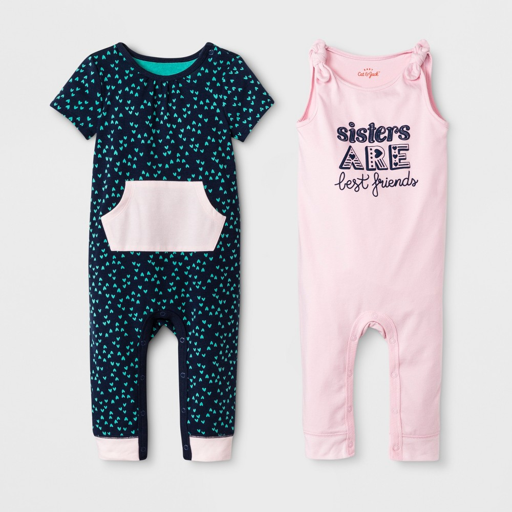 Baby Girls' 2pk Sleeveless Romper Set - Cat & Jack Woodrose/Navy 3-6M, Pink