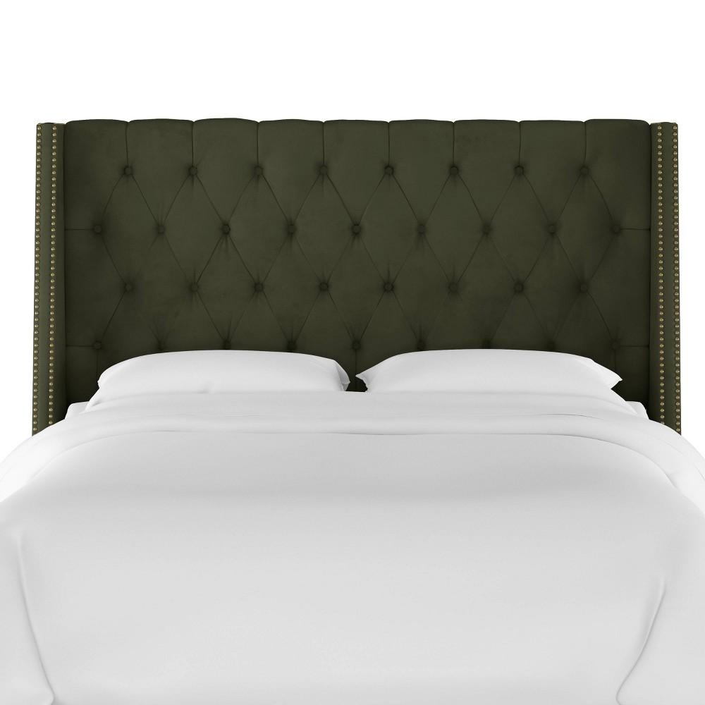 Full Nail Button Tufted Wingback Headboard in Velvet Loden Green - Skyline Furniture