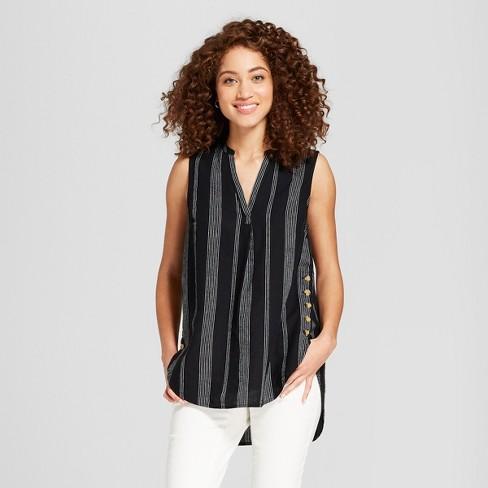 211b47a6eb Women's Striped Sleeveless Mandarin Collar Tunic - A New Day™ Black : Target