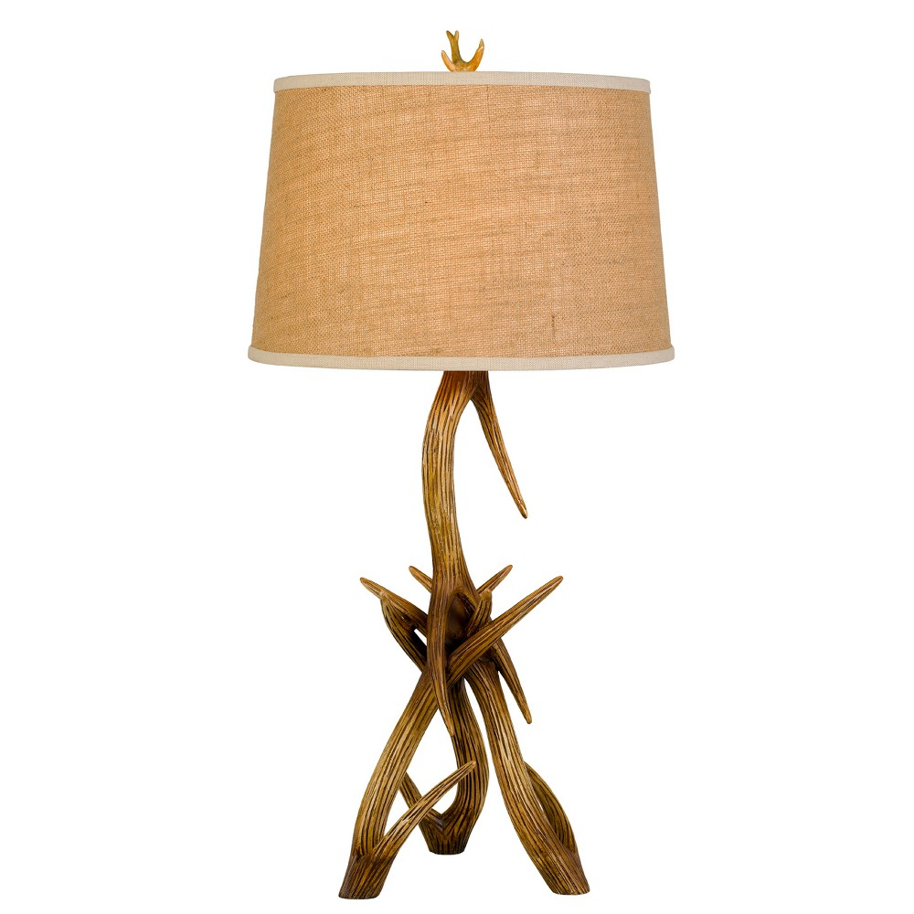 Image of 150W 3 Way Drummond Antler Resin Table Lamp With Burlap Shade - Cal Lighting