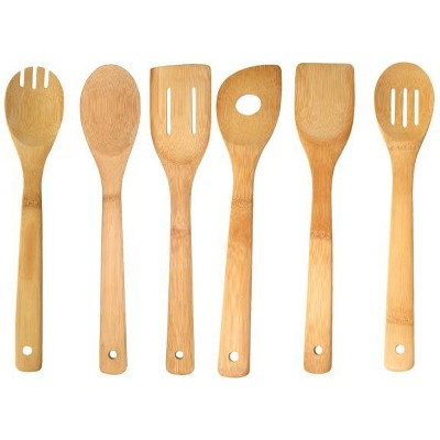 Home Basics 6 Piece Bamboo Kitchen Tool Set, Natural