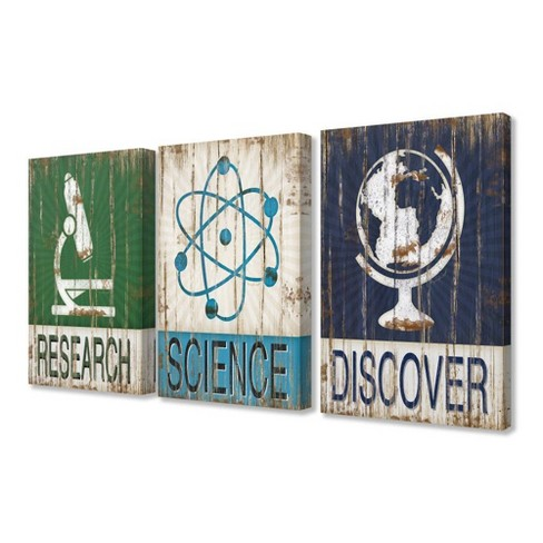 """3pc 16""""x1.5""""x20"""" Research Science Discover Stretched Canvas Art Set - Stupell Industries - image 1 of 2"""