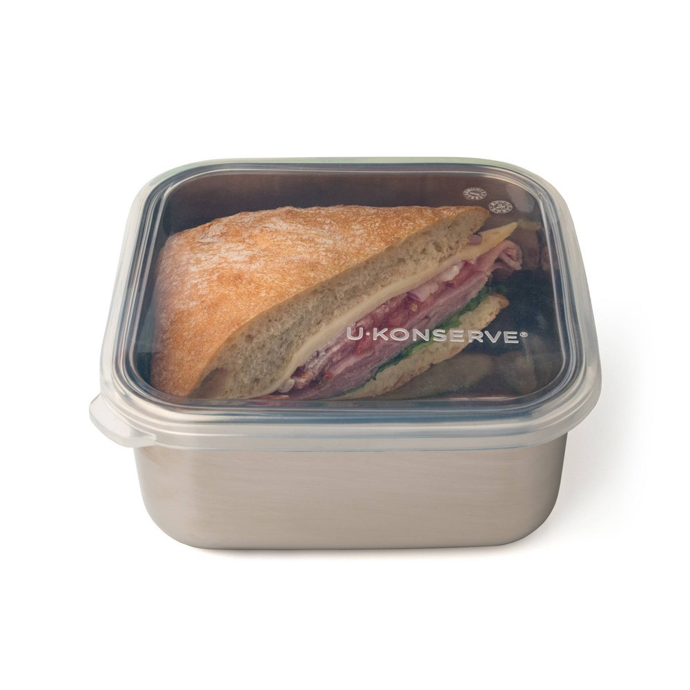 U Konserve To Go Stainless Steel Food Storage Container Square 30oz Clear Silicone Lid