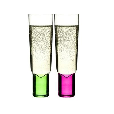 Sagaform Club Green Purple Glass 6.13 Ounce Champagne Glasses, Set of 2