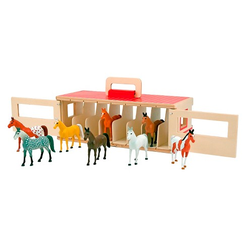 Melissa & Doug Take-Along Show-Horse Stable Play Set With Wooden Stable Box and 8 Toy Horses - image 1 of 3