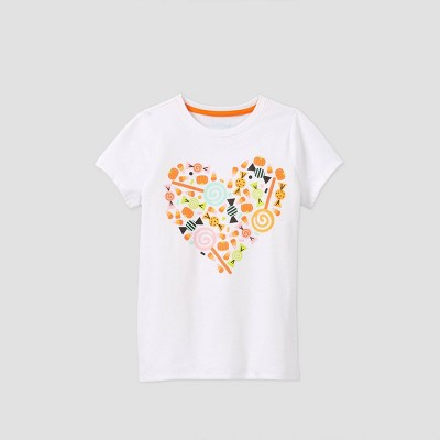 Girls' Short Sleeve Candy Heart Graphic T-Shirt - Cat & Jack™ White L