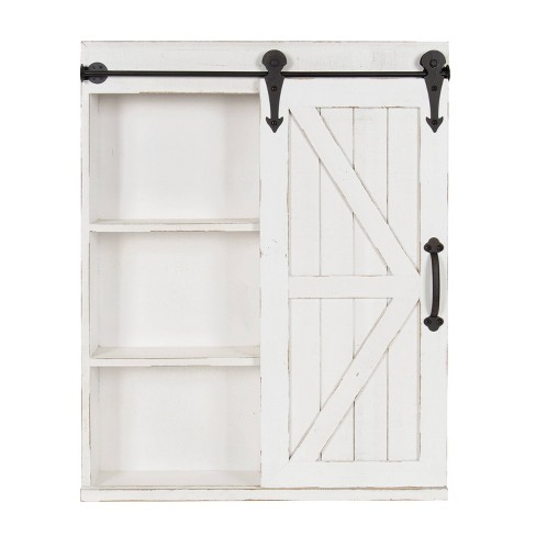 Decorative Wood Wall Storage Cabinet, Distressed White Wood Farmhouse Door Wall Mirror