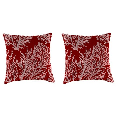 Outdoor Set Of 2 Accessory Toss Pillows In Seacoral Red - Jordan Manufacturing