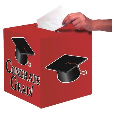 Red Congrats Grad! Party Card Box
