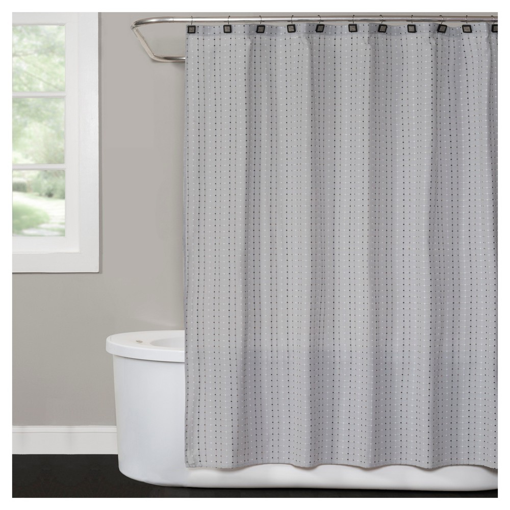 Hopscotch Polyester/Cotton Shower Curtain - Gray - Saturday Knight Ltd