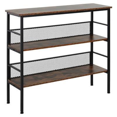 HomCom 3-Tier Industrial Style Storage Metal Wooden Shelf