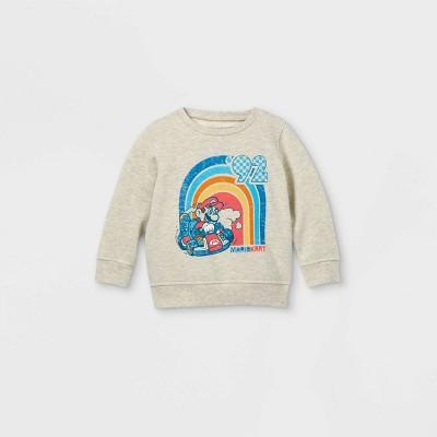 Toddler Boys' Super Mario Fleece Crew Neck Pullover - Cream