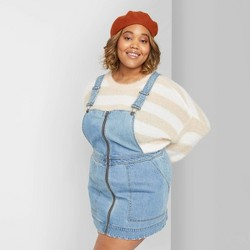 Women's Plus Size Zip Front Square Neck Denim Pinafore Mini Dress - Wild Fable™ Medium Wash