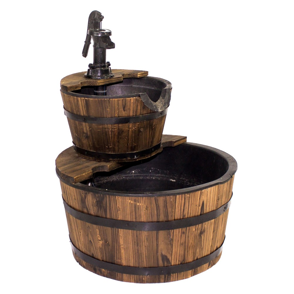 23 Wooden Barrel Water Fountain - Brown - Backyard Expressions