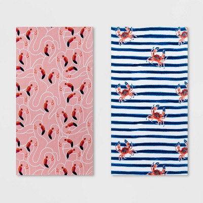 2pk Flamingo and Crab Striped Beach Towel Set Pink/Blue - Sun Squad™