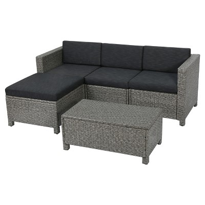 Puerta 5pc Wicker Patio Sectional Sofa Set with Cushions - Multi Gray with Dark Gray Cushions - Christopher Knight Home