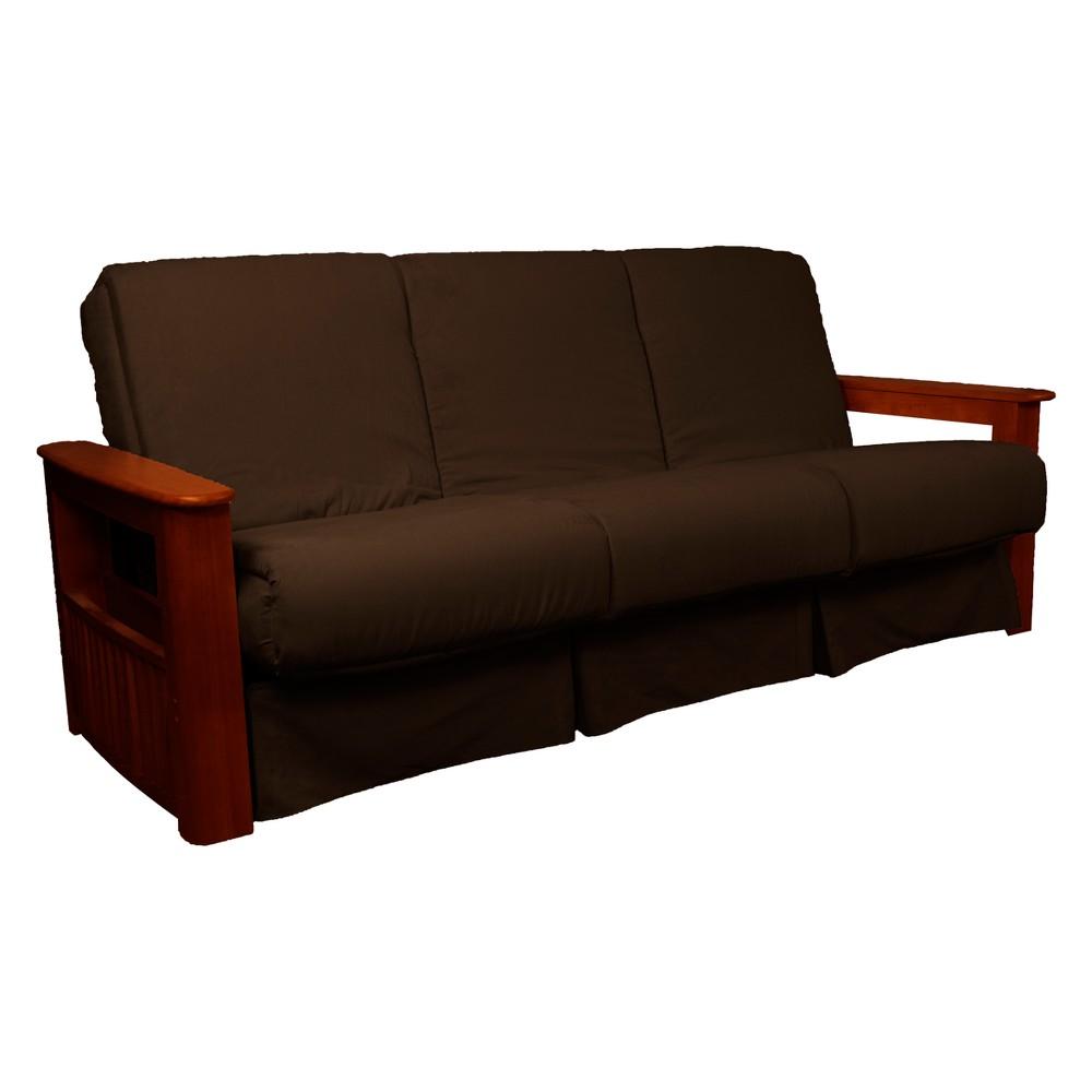 Flip Top Arm Perfect Futon Sofa Sleeper Mahogany Wood Finish Chocolate Brown - Epic Furnishings