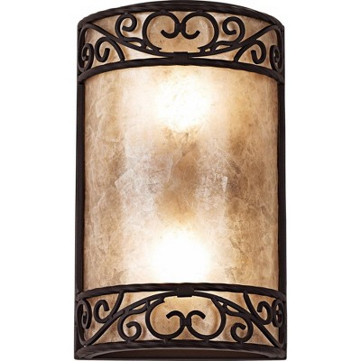 """John Timberland Rustic Wall Light Iron Scroll 12 1/2"""" Curved Sconce Fixture for Bathroom Bedroom"""