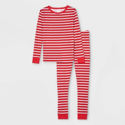 Kids' Striped 100% Cotton Tight Fit Matching Family Pajama Set - Red