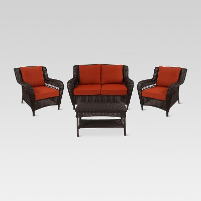 Madaga 4pc Wicker Patio Conversation Furniture Set - Terracotta - Threshold™
