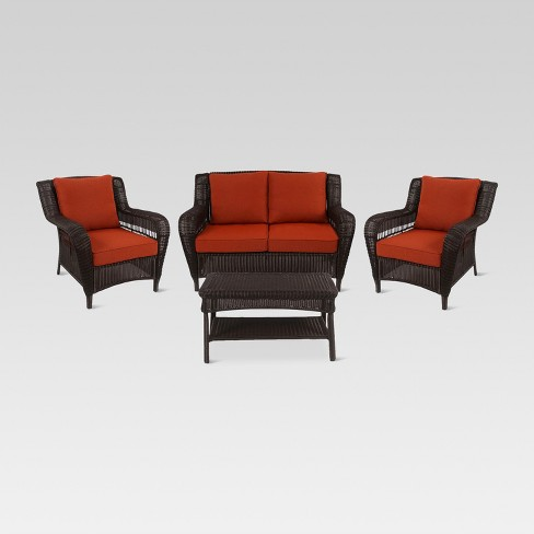 Madaga 4pc Wicker Patio Conversation Furniture Set - Terracotta - Threshold™ - image 1 of 9