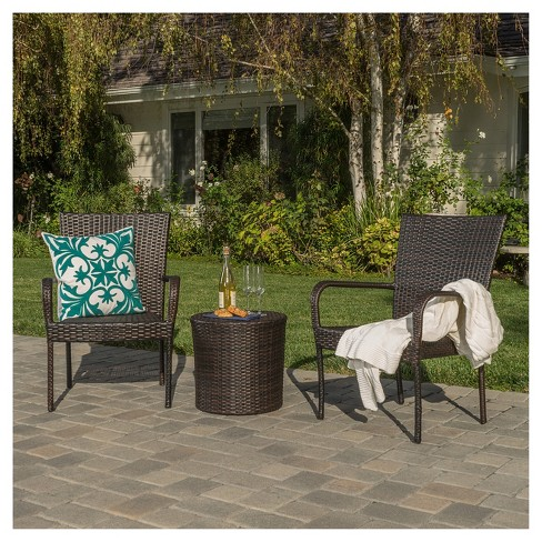 Littleton 3pc All-Weather Wicker Patio Stacking Chair Chat Set - Brown - Christopher Knight Home - image 1 of 4