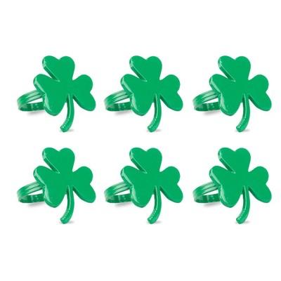6pk Brass Shamrock Napkin Rings Green - Design Imports