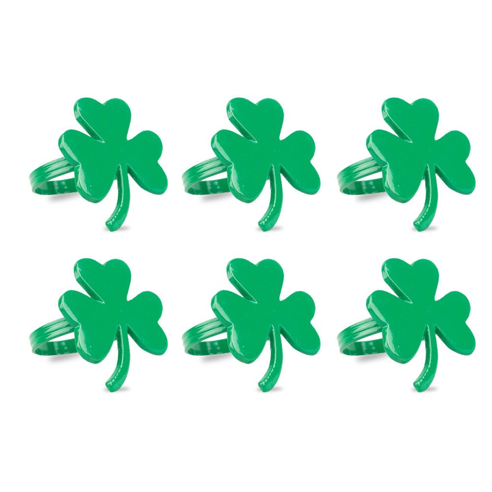 Image of 6pk Brass Shamrock Napkin Rings Green - Design Imports