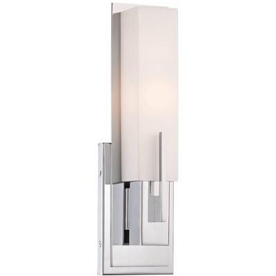 "Possini Euro Design Modern Wall Light Sconce Chrome Hardwired 15"" High Fixture Rectangular Opal Glass Bedroom Bathroom Hallway"