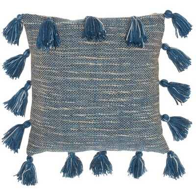 "18""x18"" Life Styles Woven with Tassels Throw Pillow Navy - Mina Victory"