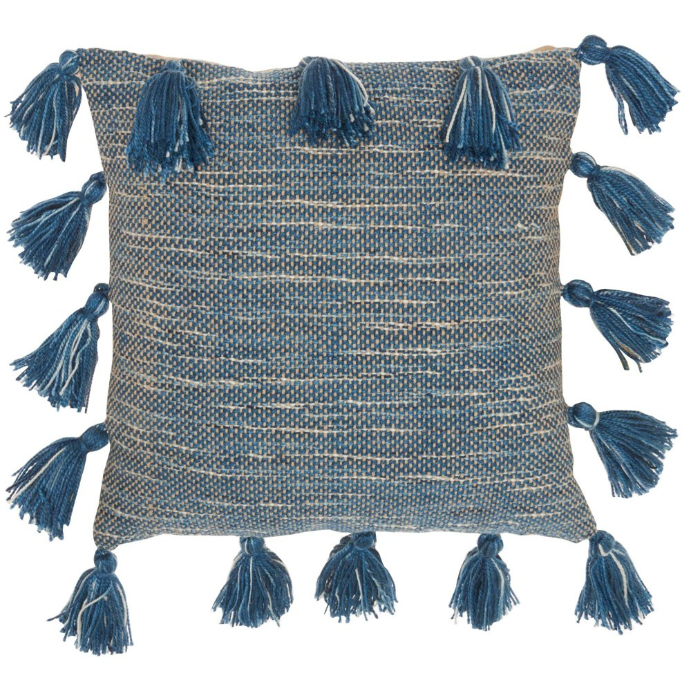 18 34 X18 34 Life Styles Woven With Tassels Square Throw Pillow Navy Mina Victory