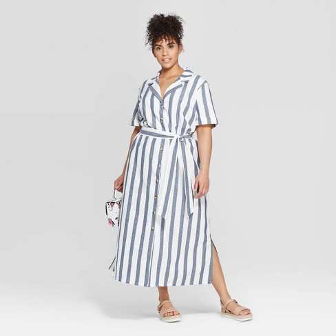 Women's Plus Size Striped Short Sleeve Linen Shirtdress - Ava & Viv™ White/Navy 2X - image 1 of 3