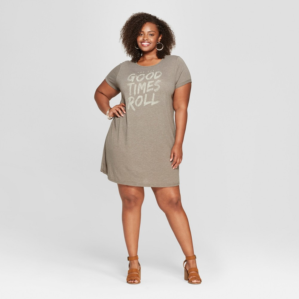 Junk Food Women's Plus Size Short Sleeve Good Times Roll Graphic T-Shirt Dress - Green 1X was $26.0 now $7.8 (70.0% off)