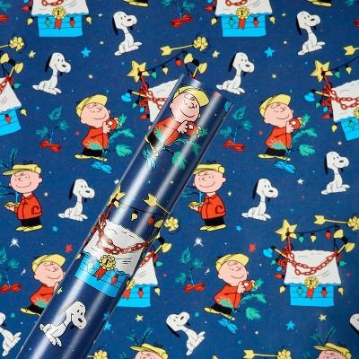 30in 40 sq ft Peanuts Charlie Brown & Snoopy Gift Wrap Blue - American Greetings