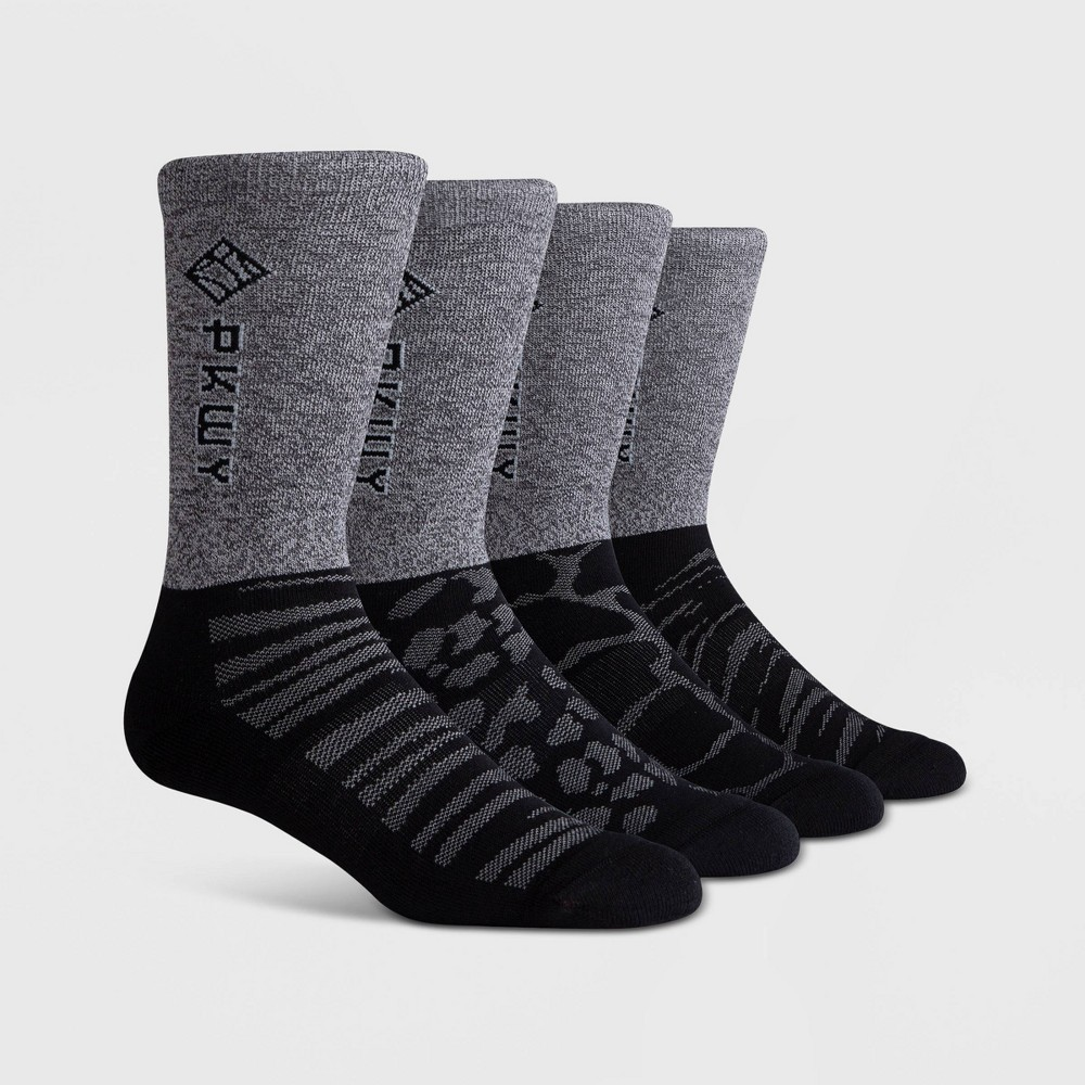 Image of PKWY Men's DyeLine 2pk Crew Socks - Black L, Size: Small