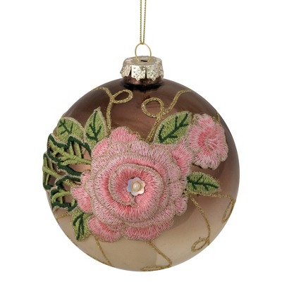 "Northlight 2-Finish Brown and Pink Floral Applique Glass Christmas Ball Ornament 5"" (125mm)"