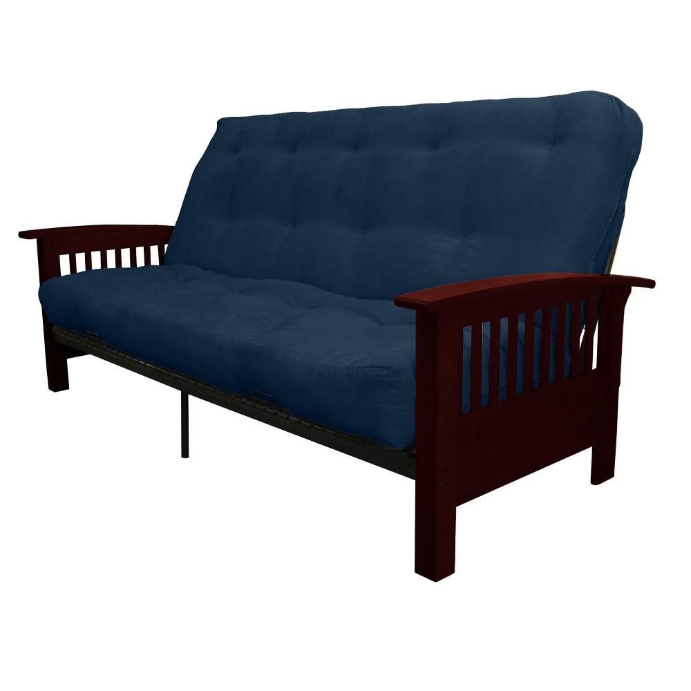 8 Craftsman Inner Spring Futon Sofa Sleeper Mahogany Wood Finish Dark Blue - Epic Furnishings